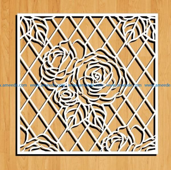 Roses decorated square frame file cdr and dxf free vector download for Laser cut