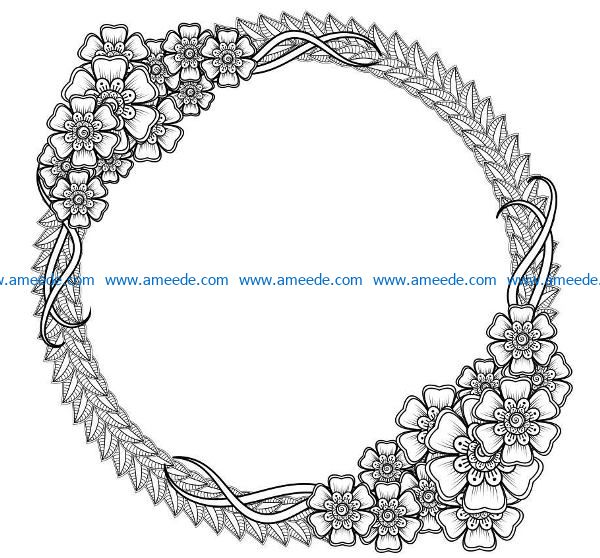 Round frame file cdr and dxf free vector download for laser engraving machines