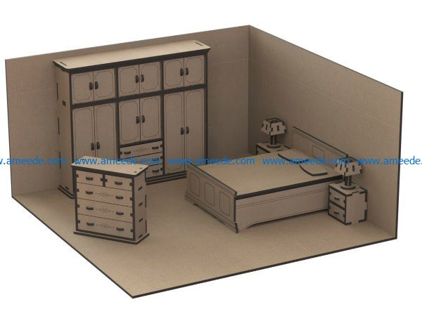 Sample bedroom furniture file cdr and dxf free vector download for Laser cut