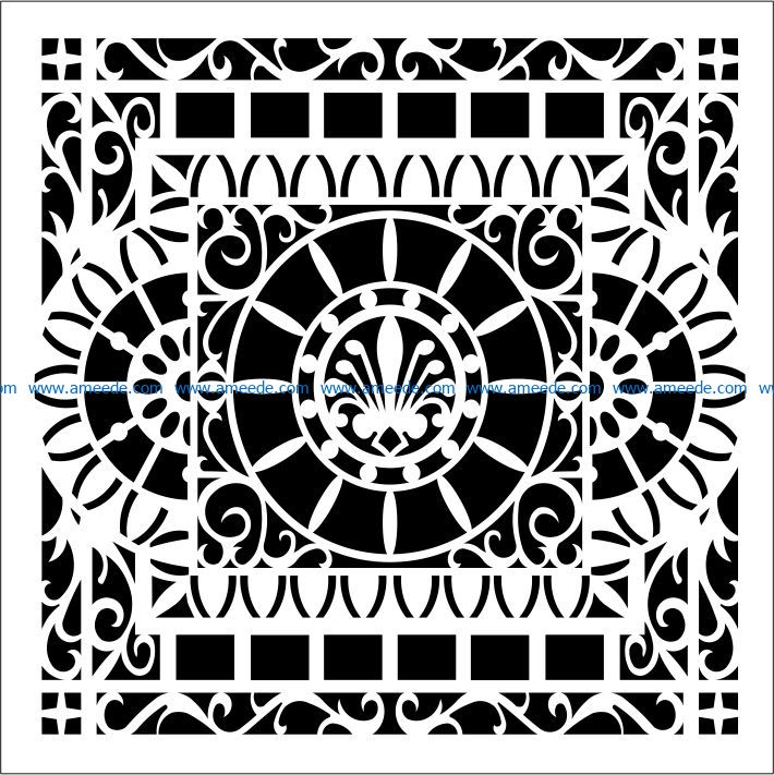 Square decoration E0009217 file cdr and dxf free vector download for laser engraving machines