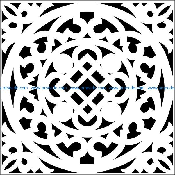 Square decoration E0009220 file cdr and dxf free vector download for Laser cut CNC