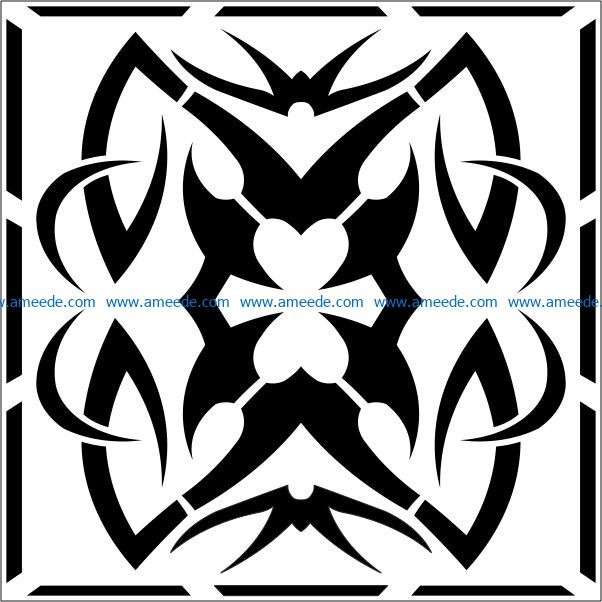 Square decoration E0009335 file cdr and dxf free vector download for