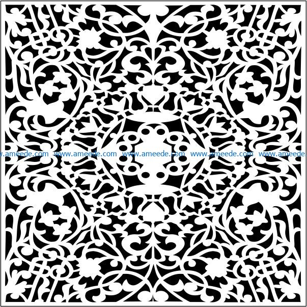 Square decoration E0009460 file cdr and dxf free vector download for Laser cut CNC