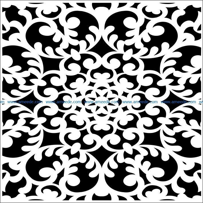 Square decoration E0009461 file cdr and dxf free vector download for Laser cut CNC