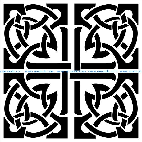 Square decoration E0009462 file cdr and dxf free vector download for Laser cut CNC