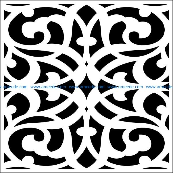 Square decoration E0009463 file cdr and dxf free vector download for Laser cut CNC