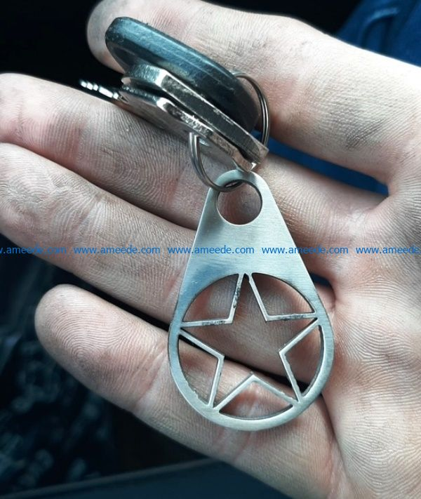 Star key chain file cdr and dxf free vector download for Laser cut