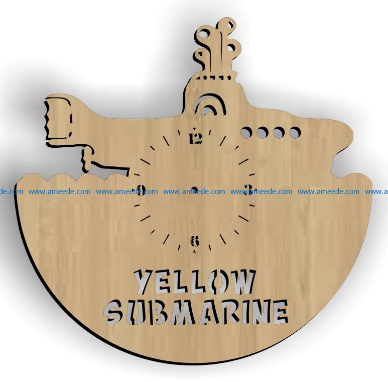 Submarine clock file cdr and dxf free vector download for Laser cut