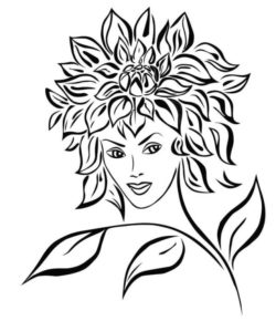 Sunflower girl file cdr and dxf free vector download for laser engraving machines