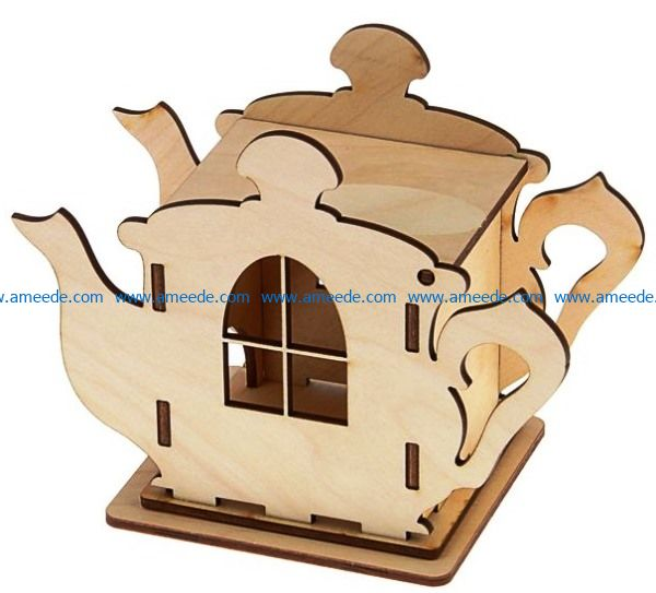 Tea house under 3 mm plywood file cdr and dxf free vector download for Laser cut