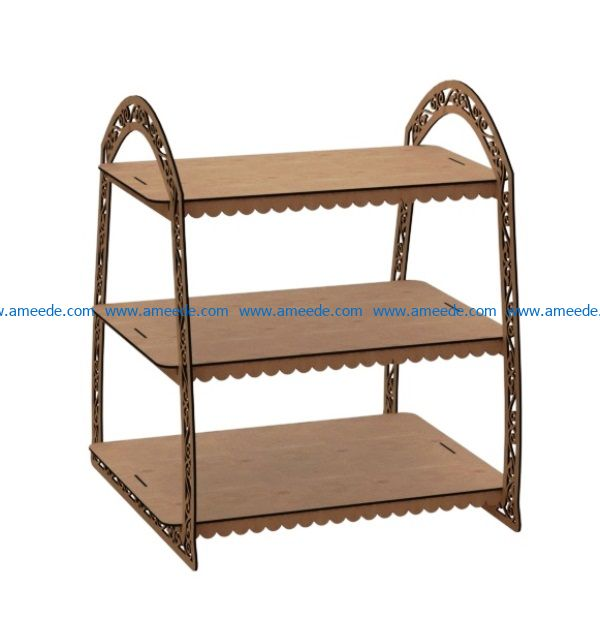 Three tier shelves file cdr and dxf free vector download for Laser cut