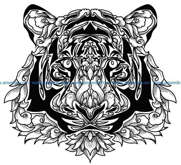 Tiger with lotus file cdr and dxf free vector download for laser engraving machines
