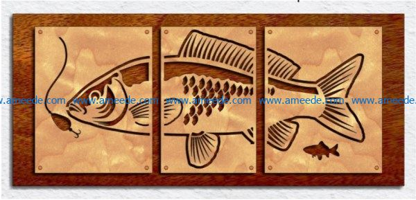 Triptych Fish Art file cdr and dxf free vector download for Laser cut