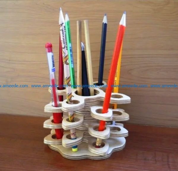 Unique pencil holder file cdr and dxf free vector download for Laser cut