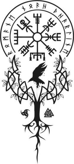 Viking tree file cdr and dxf free vector download for laser engraving machines