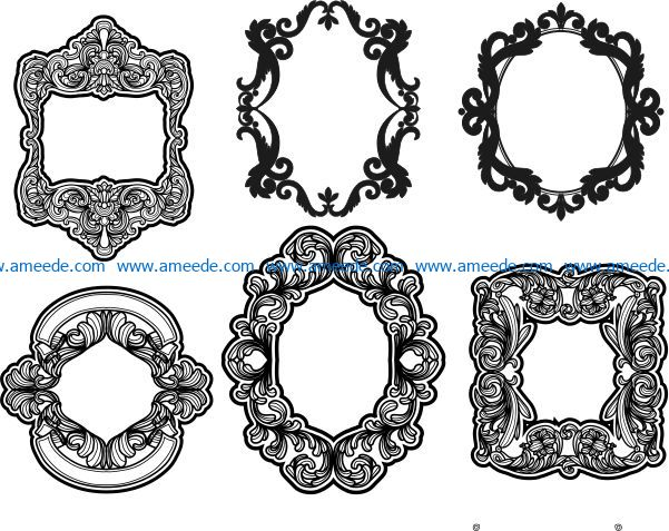 Vintage decorative frame file cdr and dxf free vector download for laser engraving machines