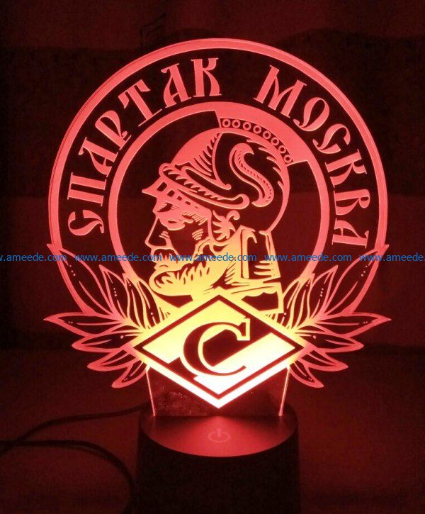 3D illusion led lamp Warrior Greek free vector download for laser engraving machines