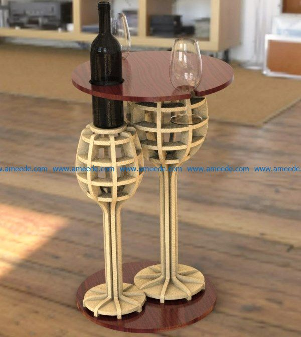 Wine table for two file cdr and dxf free vector download for Laser cut