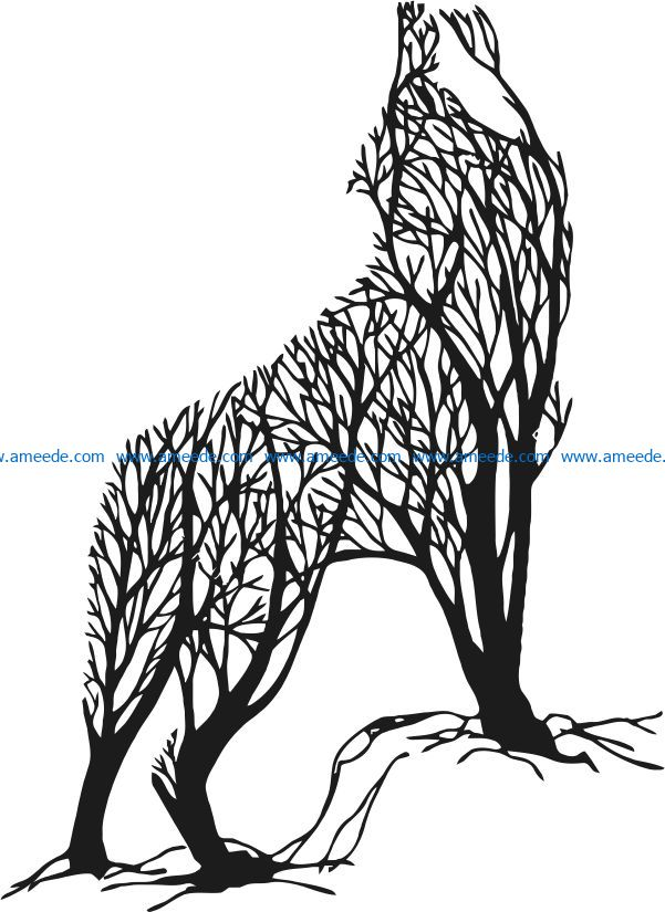 Wolf with tree file cdr and dxf free vector download for laser engraving machines