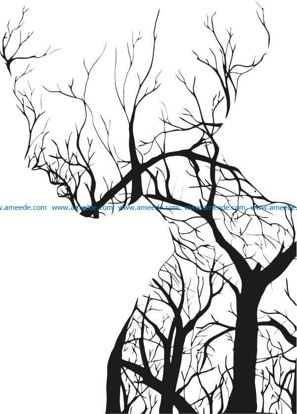Woman with tree file cdr and dxf free vector download for laser engraving machines