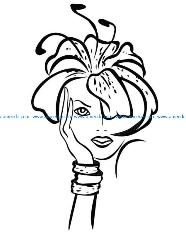 Women look like flowers file cdr and dxf free vector download for laser engraving machines
