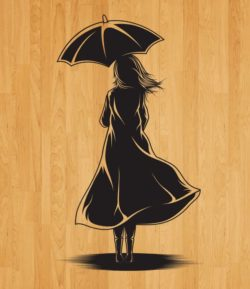 back girl covering umbrella file cdr and dxf free vector download for laser engraving machines
