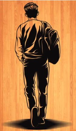back the man carries the bag  file cdr and dxf free vector download for laser engraving machines