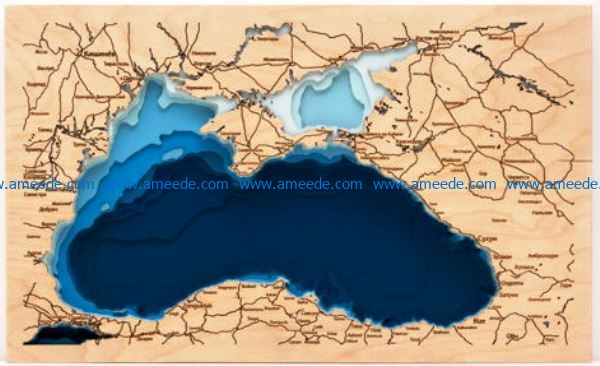 black sea map file cdr and dxf free vector download for Laser cut