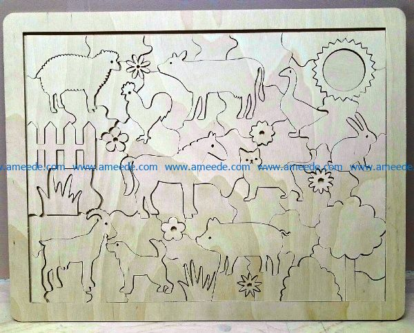 cattle puzzle file cdr and dxf free vector download for Laser cut
