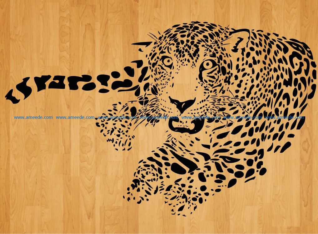 cheetah lies relaxed file cdr and dxf free vector download for laser engraving machines