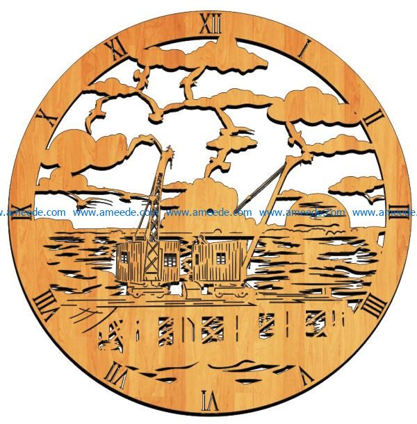 crane wall clock file cdr and dxf free vector download for Laser cut