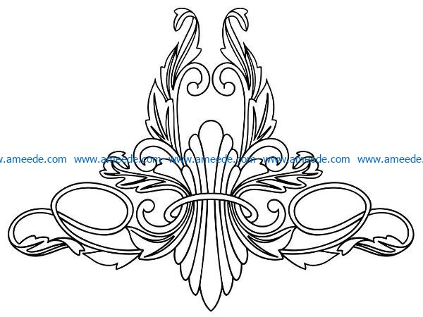 decoration pattern in the center file cdr and dxf free vector download for CNC cut