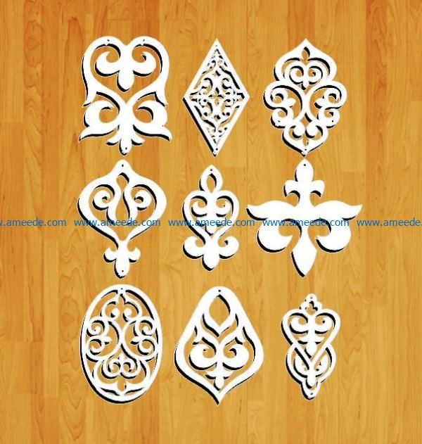 earrings model file cdr and dxf free vector download for Laser cut