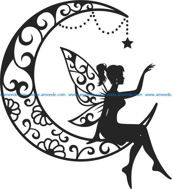 fairy on the moon file cdr and dxf free vector download for Laser cut