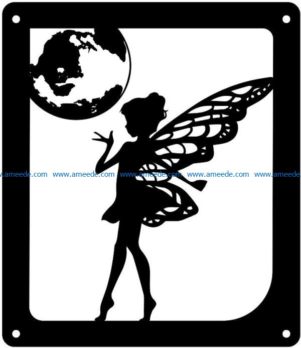 fairy with a planet file cdr and dxf free vector download for Laser cut Plasma