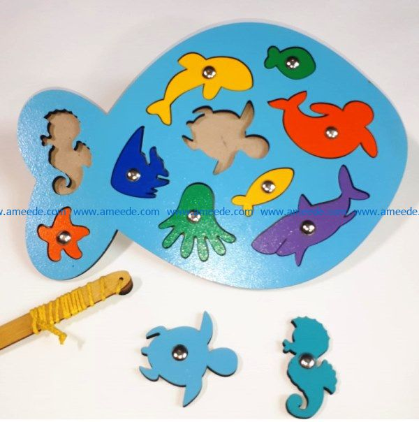fish puzzle file cdr and dxf free vector download for Laser cut