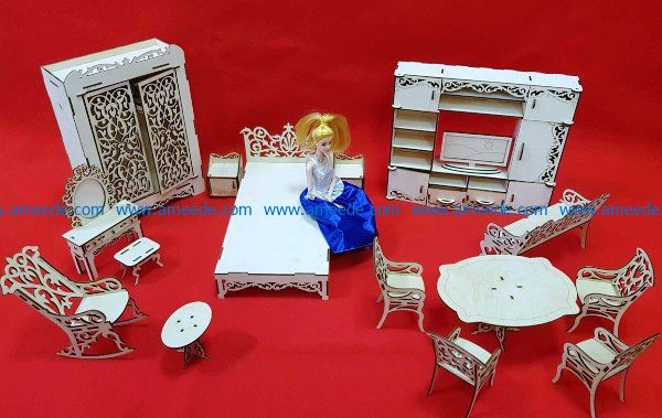furniture for barbie file cdr and dxf free vector download for Laser cut