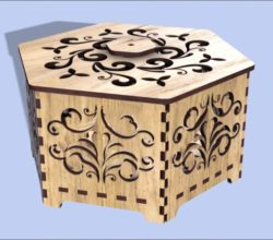 hexagon casket file cdr and dxf free vector download for Laser cut