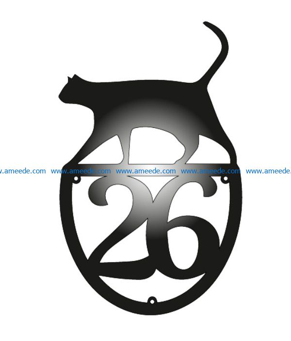 house number with cat file cdr and dxf free vector download for Laser cut Plasma