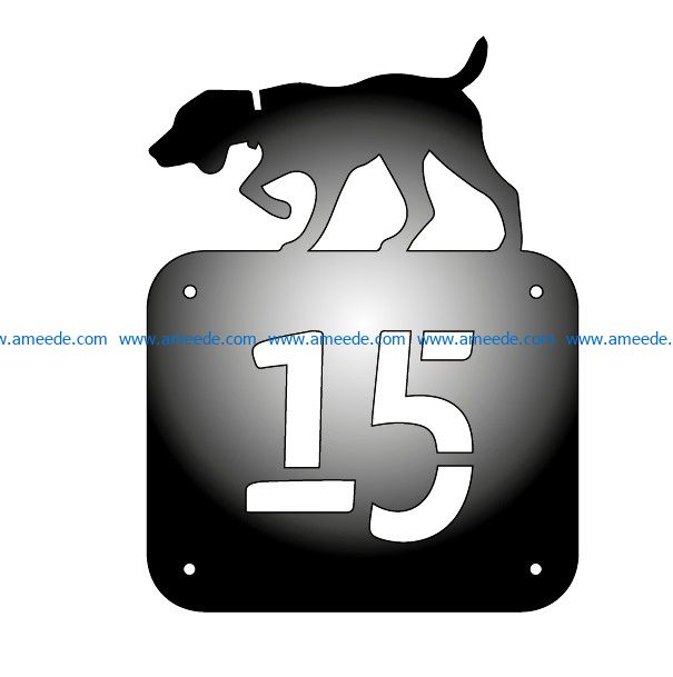 house number with dog file cdr and dxf free vector download for Laser cut Plasma