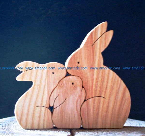 puzzle rabbit file cdr and dxf free vector download for Laser cut