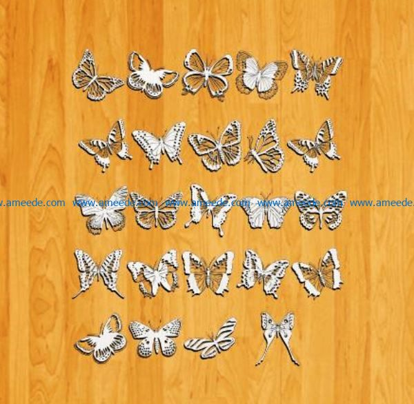 set of butterfly file cdr and dxf free vector download for Laser cut