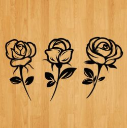 set of carved roses file cdr and dxf free vector download for laser engraving machines