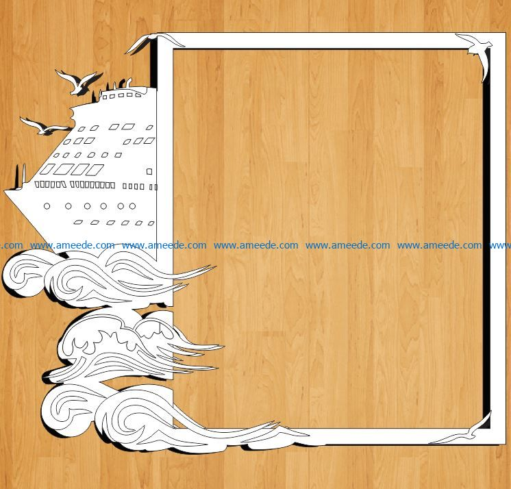 ship frame file cdr and dxf free vector download for Laser cut