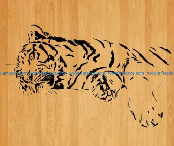 tiger lies down file cdr and dxf free vector download for laser engraving machines