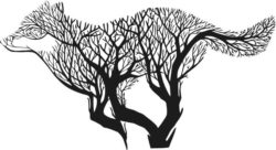 wolf runs with tree file cdr and dxf free vector download for laser engraving machines