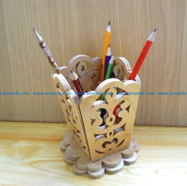 wooden pencil holder file cdr and dxf free vector download for Laser cut