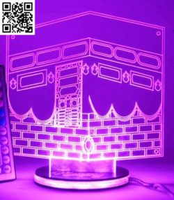 3D illusion led lamp free vector download for laser engraving machines