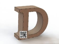 3d letter D file cdr and dxf free vector download for Laser cut