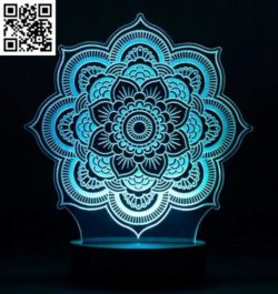 3D illusion led lamp mandala free vector download for laser engraving machines